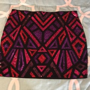 Express Mini Sequined Aztec Skirt Red Pink Black L